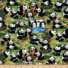 Peter Panda Pandas Bamboo Water Pond Cotton Fabric FAQ 112-25201