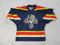 CCM Florida Panthers Hockey Jersey Youth Medium Blue Red SEWN Boys Kids A24
