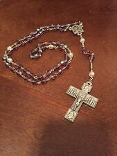 Ghirelli Rosary + Antique Silver + Amethyst Glass