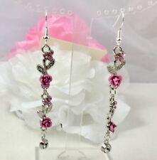 "Acrylic Crystal Single Diamante Drop Earrings 2.5"" Silver Tone Pink Metal Rose &"