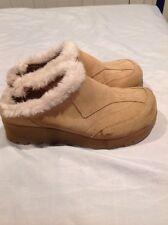 Aldo Women Clog Shoes With Faux Fur, Sz9/ 39M, Beige, Clogs, Suede