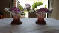 Paire petits vases verre. Décor de paysages lacustres.Début XXème. Glass vase
