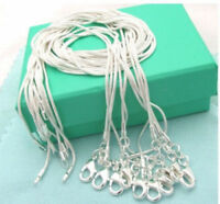 """10PCS wholesale 925 sterling solid silver 1MM snake chain necklace 18"""" - 30"""""""