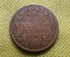 1862 India straits one 1 cent Queen Victoria