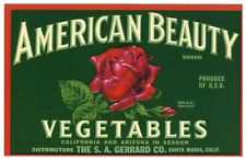 American Beauty Brand, Red Rose *An Original Vegetable Crate Label*