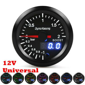 2in 52mm 7 Color Digital & Pointer LED Turbo Boost Gauge Car 12V With Sensor
