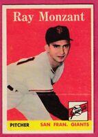1958 Topps Baseball Card # 447 Ray Monzant -- Giants  (EX)
