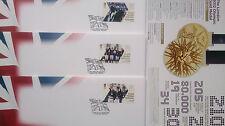 EQUESTRIAN SET OF THREE OLYMPICS 2012 FDC 7-8-10 AUG GOLD,RARE NO ADDRESS,NEW