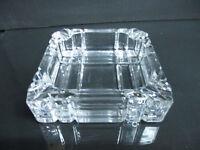 "Heavy Vintage Crystal Square Panel Mid-Century Modern Ash Tray 4 1/2"""