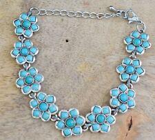 Arizona Turquoise Flower Shape Gemstone Womens Bracelet 925 Silver Plated