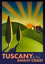 "Reproduction Vintage Italian ""Tuscany"" Poster, Home Wall Art, Size A2"