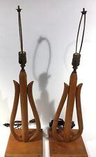 Pair Of Bent Wood Mid Century Danish Modern Lamps