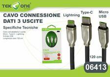 Cavo Dati Usb TeKone 06413 3in1 Connettore Lightning Microusb Type-C 120cm hsb