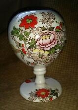 Antique Maling rare orb flower vase pottery vintage transferware birds england