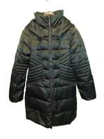One 1 Madison M Black Down Parka Quilted Winter Coat Full Zip Flattering Fit Md