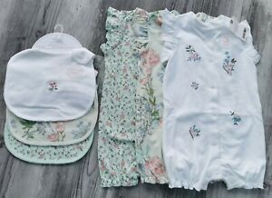 Next Baby Girls NEW Floral Rompers 6-9 Months With Matching Bibs BNWT