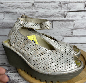 Fly London Size 36 Womens Perforated Pearl Leather Ankle Strap Wedge Sandals