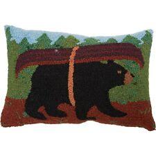 """Peking Handicraft, Inc. Canoe Bear Hooked Throw Pillow Size: 12"""" x 18"""" Brand New"""