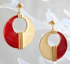 """Pierced Earrings 1980s vintage 2 1/8"""" Fabulous Red & Cream Enamel Gold-tone Hoop"""
