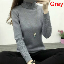 Women Turtleneck Winter Sweater Long Sleeve Knitted Sweater Pullover Jumper Fx