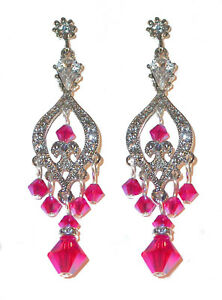 HOT PINK Crystal Chandelier Earrings Swarovski Elements Silver Formal