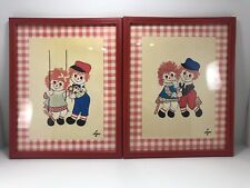Vintage Raggedy Ann & Andy Framed Pictures/Wall Deco-Nursery-Art