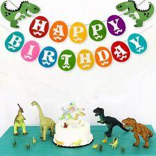 DIY Dinosaur Kids Happy Birthday Banner Hanging Bunting Theme Party Decoration