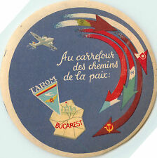 TAROM Airlines ~BUCHAREST ROMANIA~ Beautiful Old Luggage Label, c. 1955