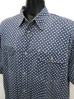 America Perry Ellis Shirt Mens Sz L Large Blue White Button Front Short Sleeve