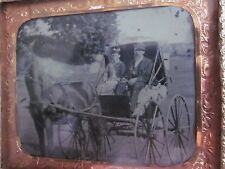 1/6 Tintype of Man & Woman in Horse Drawn Buggy in Mat and Frame