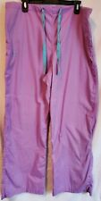 Med Couture Womens scrub bottoms size Xl light purple turquoise accents