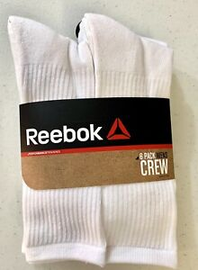 Reebok Men 6 Pack White Crew Athletic Socks US Socks Size 10-13 Shoe Size 6-12.5