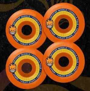 Spitfire Formula 4 Tablets Skateboard Wheels Neon Orange 54mm - 99d + ABEC 11's