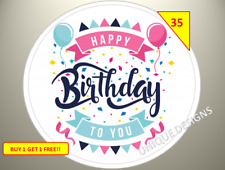 70 Happy Birthday Party Labels Stickers Birthday Gift Goody sweet Cone Bags Box