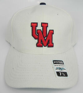 MISSISSIPPI REBELS OLE MISS WHITE NCAA VTG FITTED SIZED CAP HAT NEW DEADSTOCK