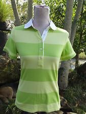 Lilly Pulitzer Sz Small Green Yellow Short Sleeve Rugby Stripe Polo Shirt Top