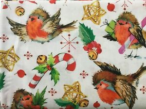 Christmas robins candy canes jingle bells stars holly Cotton Fabric