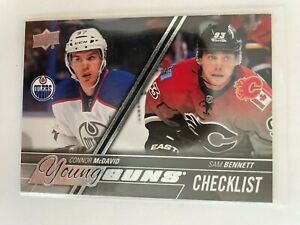Connor McDavid/Sam Bennett UD Young Guns Checklist #250 Edmonton Oilers RC