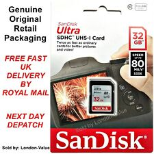 SanDisk Ultra 32GB SD SDHC Memory Card 32 GB - Class 10 UHS-I - High Speed NEW