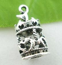 2 x Tibetan Silver Carousel Pendant Charms