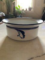 """VTG Round Vegetable Serving Bowl 7 7/8"""" Dansk Flora Bayberry Blue Made in Japan"""