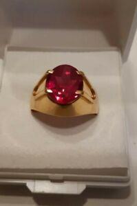 Herren oder Damen Ring Rotgold Rosegold 583/585 mit Rubin Stein Gr.63,ca 7 gr