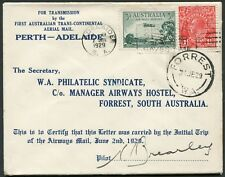 2-4 June 1929 (AAMC.137a) Adelaide - Forrest intermediate flown cover