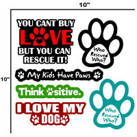 Dog Pet Rescue Car Window Bumper Sticker Decal Pack of 6 Vinyl Decal Stickers