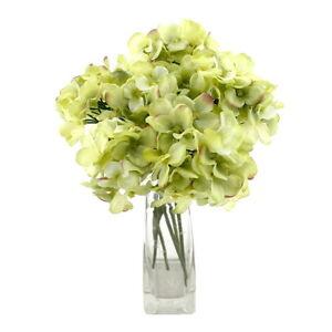 6x Hortensie Pick, Zweig, grün/bunt L= 24cm Ø 9cm, Seide Kunststoff !!