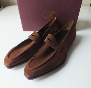 George Cleverley 'George' Mens Brown Calf Suede Penny Loafers Shoes £550 11 UK