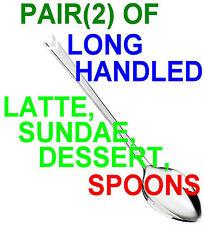 PAIR OF LONG HANDLED CHROME DESSERT, LATTE, ICE CREAM SUNDAE SPOONS - FREE POST