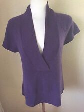 Coldwater Creek V Neck Sweater Size S Purple Cap Sleeve 100% Acrylic