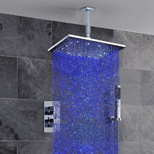 "Luxury Bathroom 12"" LED Rain Shower Faucet Brass Thermostatic Valve Mixer Taps"