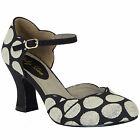 LADIES RUBY SHOO ANNABEL BLACK SPOTS VINTAGE INSPIRED RETRO SHOES
